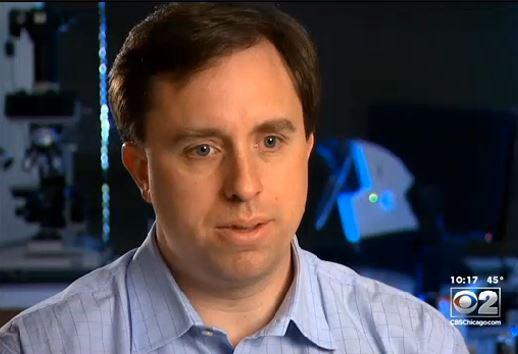 Chris Palenik on CBS2 news discussing Metra pollution.